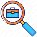 briefcase, business, career, employment, job, recruitment, search icon