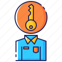 business, circle, key, leadership, man, person, uniform icon