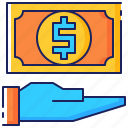 bill, business, currency, dollar, hand, loan, money icon