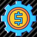 business, corporate, dollar, finance, gear, making, money icon