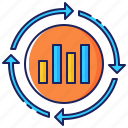 analysis, arrows, business, chart, data, graph, market icon