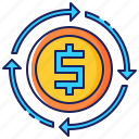 arrows, business, cycle, dollar, finance, flow, money icon