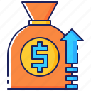 arrow, bag, business, finance, growth, money, up icon