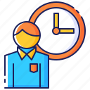 business, clock, employee, man, overtime, time, work icon