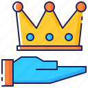 assistance, business, crown, hand, premium, quality, service icon