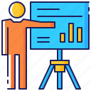 business, graph, information, meeting, presentation, report, slide icon