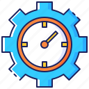 business, clock, gear, management, productivity, time, work icon