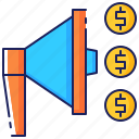 business, corporate, dollar, marketing, megaphone, promotion, strategy icon