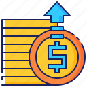 arrow, business, financial, fund, funding, raise, up icon