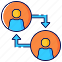 arrow, business, cooperation, partnership, people, relationship, teamwork icon