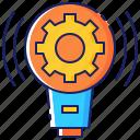 business, consultation, gear, idea, lightbulb, solution, strategy icon