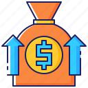 arrows, business, finance, investment, money, sponsor, support icon