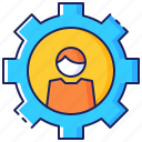 business, customer, employee, gear, man, person, support icon