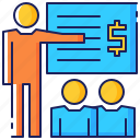 business, employee, lecture, people, presentation, seminar, training icon