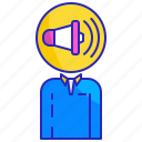 advertising, business, human, marketing, megaphone, person, promotion icon