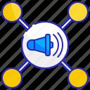 business, map, megaphone, pr, public, relations, relationship icon