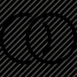 circle, circles, overlap, two circles, venn diagram icon