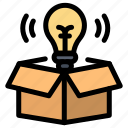 box, bulb, idea, light
