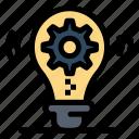 bulb, gear, idea, setting icon