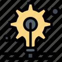 bulb, gear, idea icon