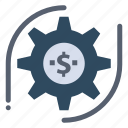dollar, gear, money, setting icon