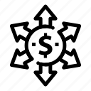 arrow, dollar, money icon