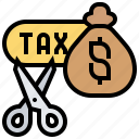 credit, cut, deduction, scissors, tax icon