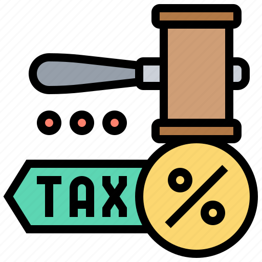 business, exception, exemption, gavel, tax icon