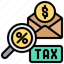 income, inspect, payment, percentage, tax icon