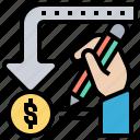 arrow, money, refund, return, tax