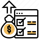 arrow, checklist, financial, fiscal, policy icon