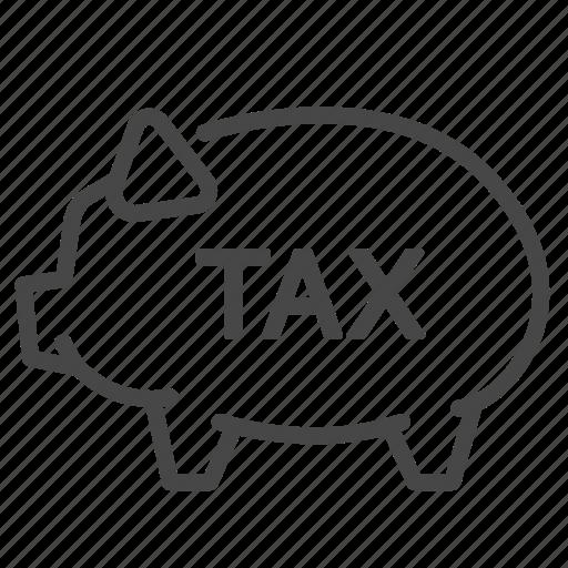 deduction, duties, payable, piggy bank, storage, tax, taxes icon