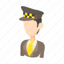 car, cartoon, driver, man, taxi, transport, transportation icon