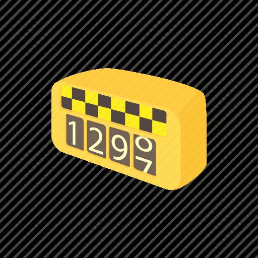 car, cartoon, meter, money, price, taxi, transport icon