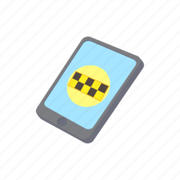 application, cab, cartoon, mobile, phone, service, taxi icon