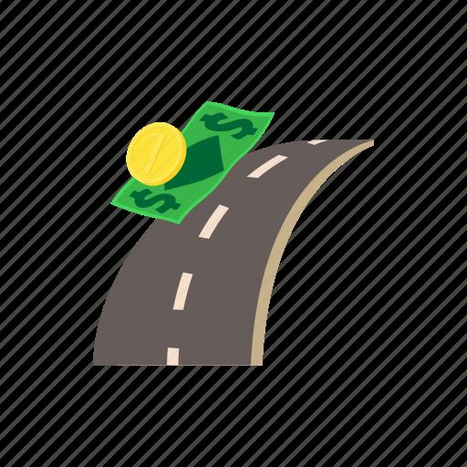 business, cartoon, coin, concept, money, road, taxi icon