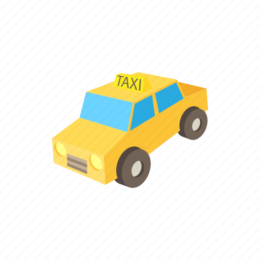 car, cartoon, taxi, transport, transportation, vehicle, yellow icon