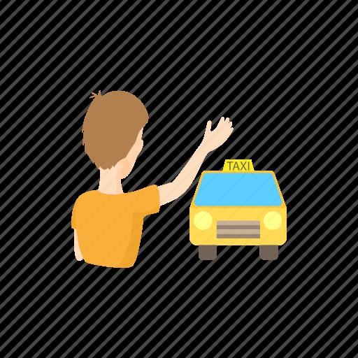 car, cartoon, man, passenger, taxi, vehicle, wave icon