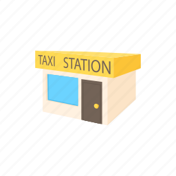 automobile, car, cartoon, office, service, station, taxi icon