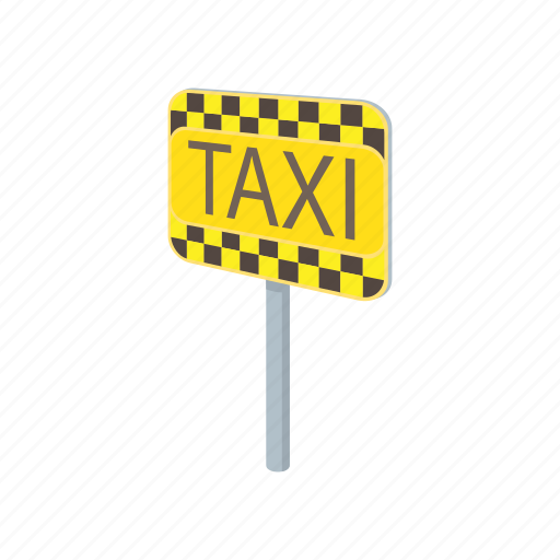 car, cartoon, pole, signboard, taxi, transport, vehicle icon