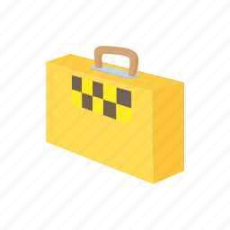 bag, car, cartoon, suitcase, taxi, transport, vehicle icon