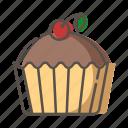 cake, cherry, dessert, food icon