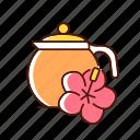 teapot, hibiscus, tea, herbal