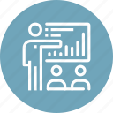 analytics, board, chart, people, presentation, report, statistics icon