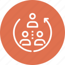 flow, hierarchy, job, people, rotation, structure, team icon