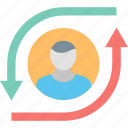 arrows, career, employee, leadership, manager, opportunity, person icon