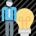 bulb, creative, employee, idea, light, person, worker icon