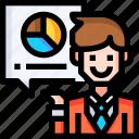 avatar, businessman, chat, data, diagram, man icon