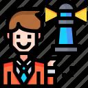 avatar, man, user, vistion, work icon
