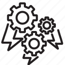 brainstorm, cooperate, gear, team, teamwork icon
